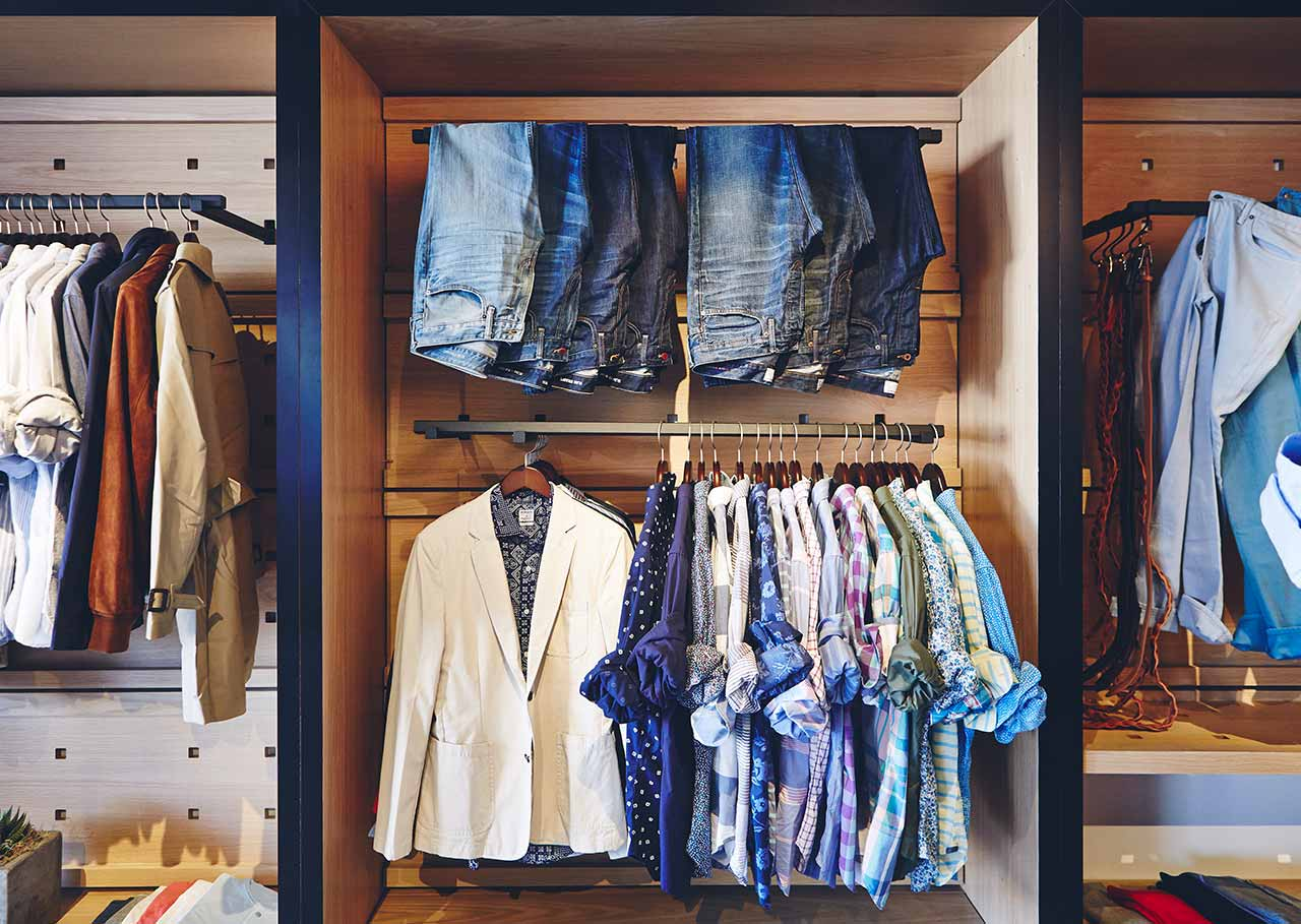 Bonobos shirts and pants on an in-store display