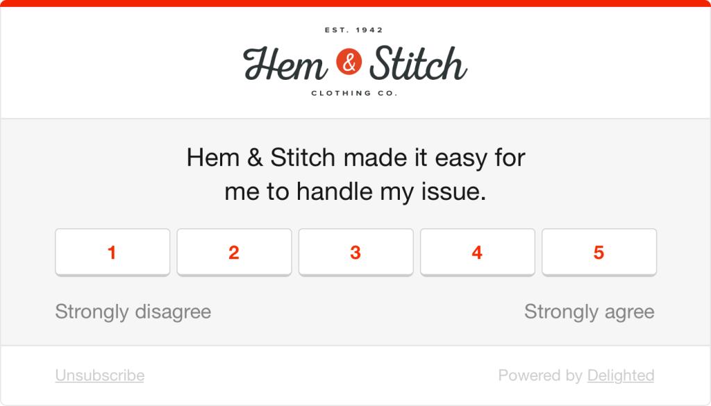 Customer effort score survey question example