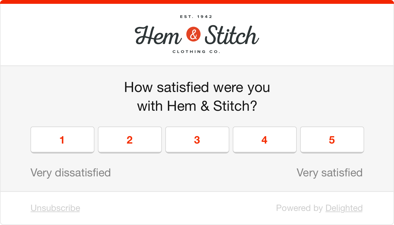 CSAT survey example: How satisfied were you with Hem & Stitch?