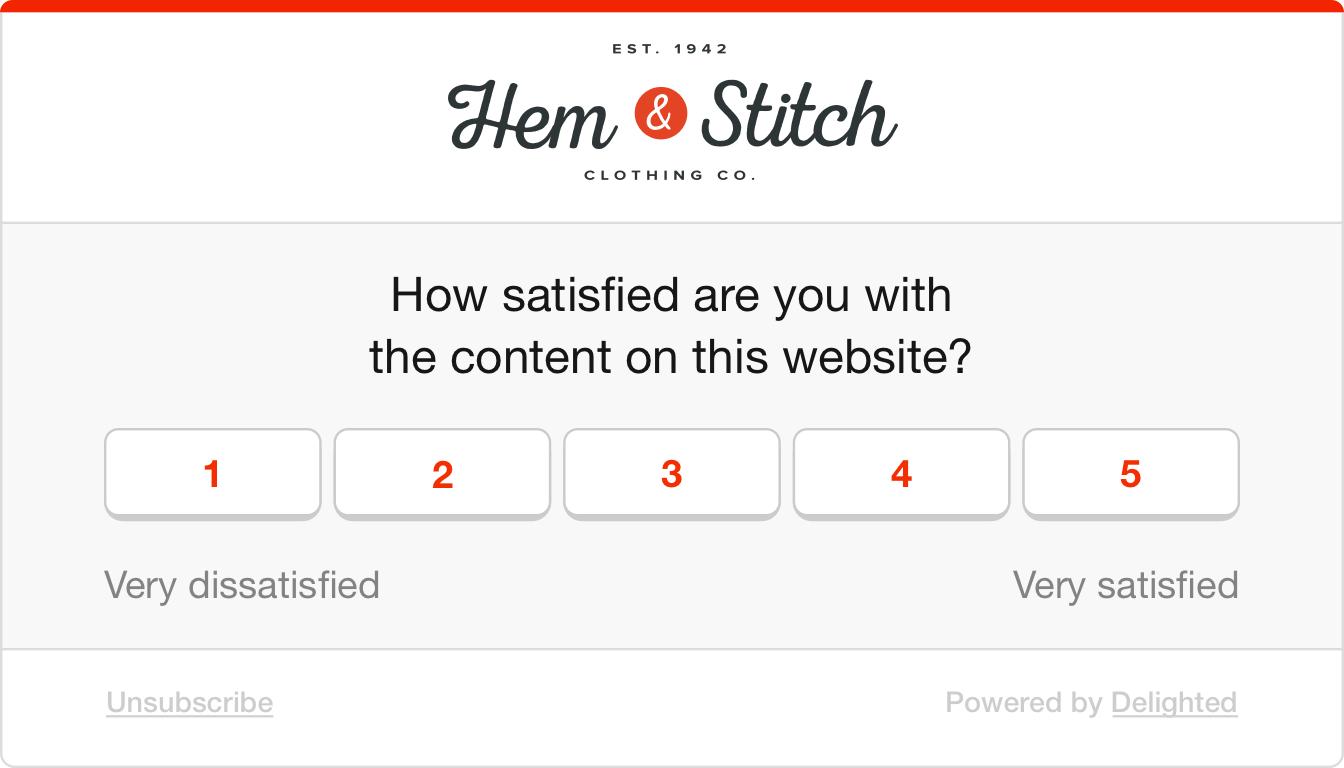 Web intercept survey example to gauge web content quality