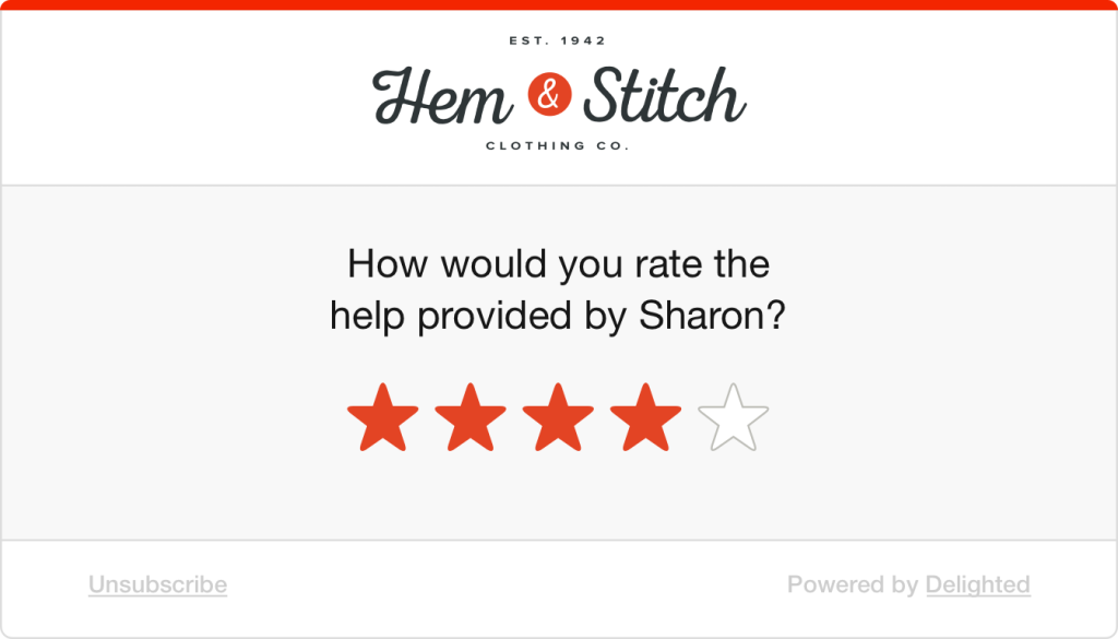 5-star retail support survey: How would you rate the help provided by Sharon?