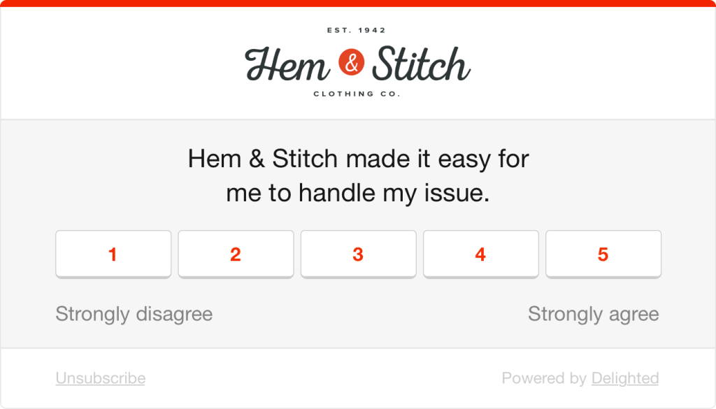 CES survey example: Hem & Stitch made it easy for me to handle my issue.