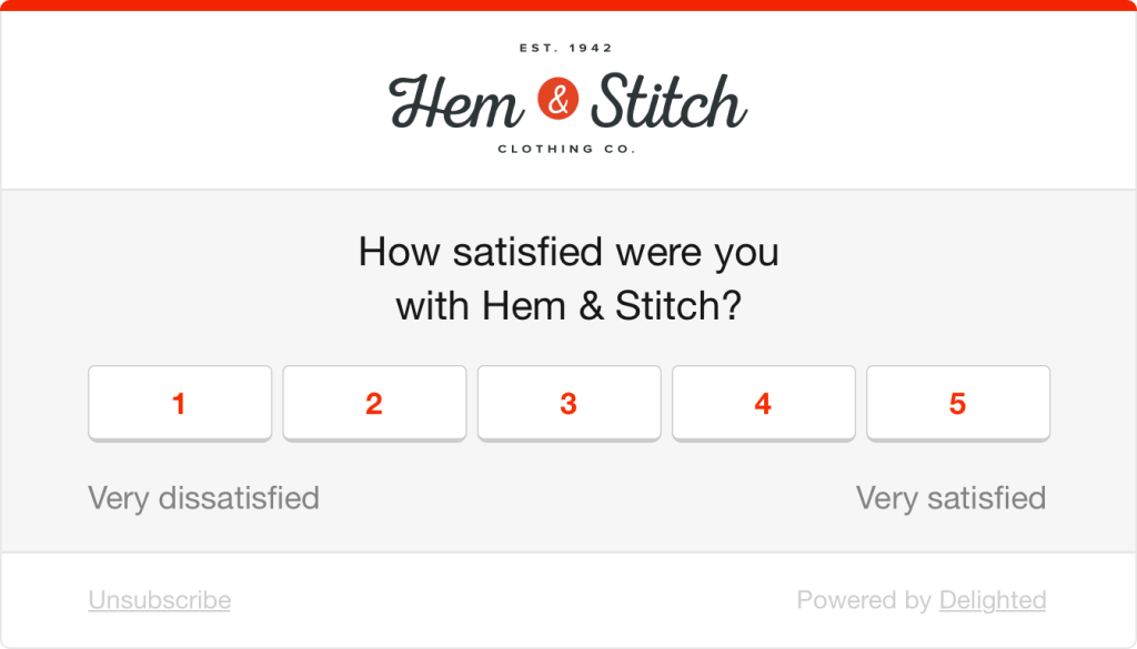 CSAT survey question: How satisfied were you with Hem & Stitch?