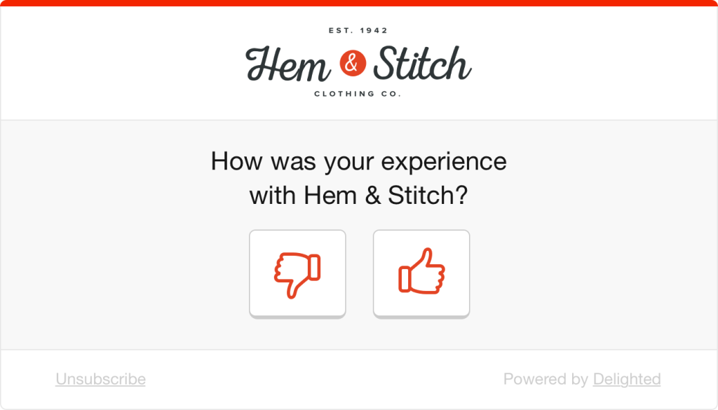 Retail experience thumbs survey: How was your experience with Hem & Stitch?