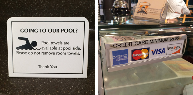 Examples of rules businesses impose: pool towel usage to credit card minimums