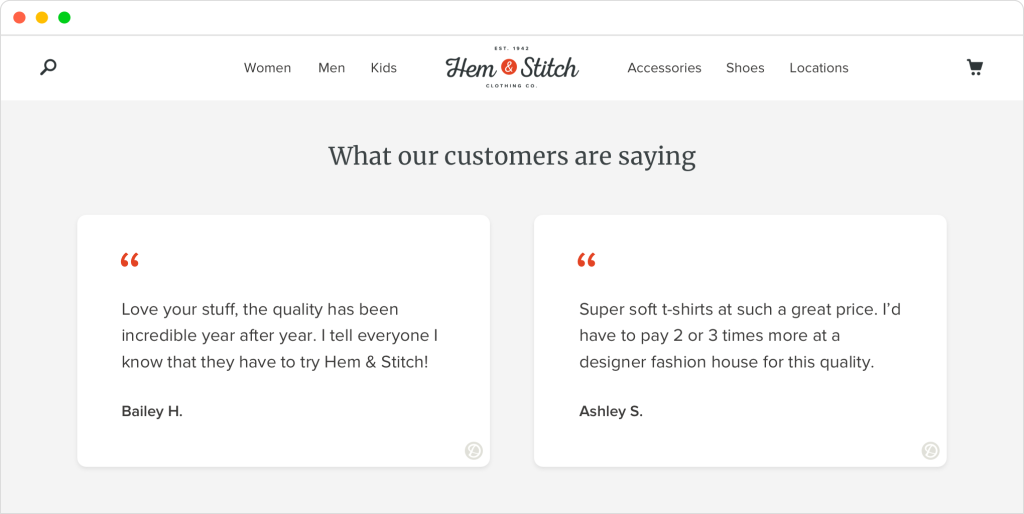 customer testimonials embedded on a website