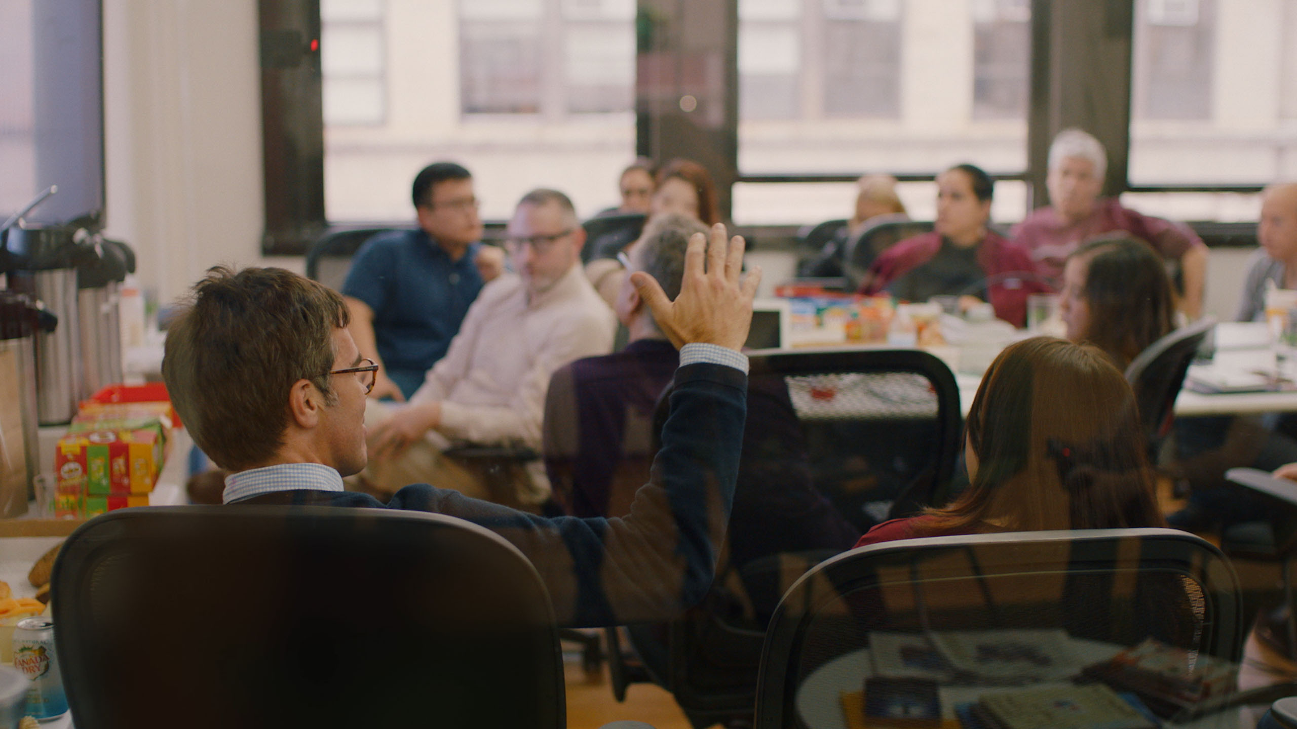 Patch Employees in a large meeting