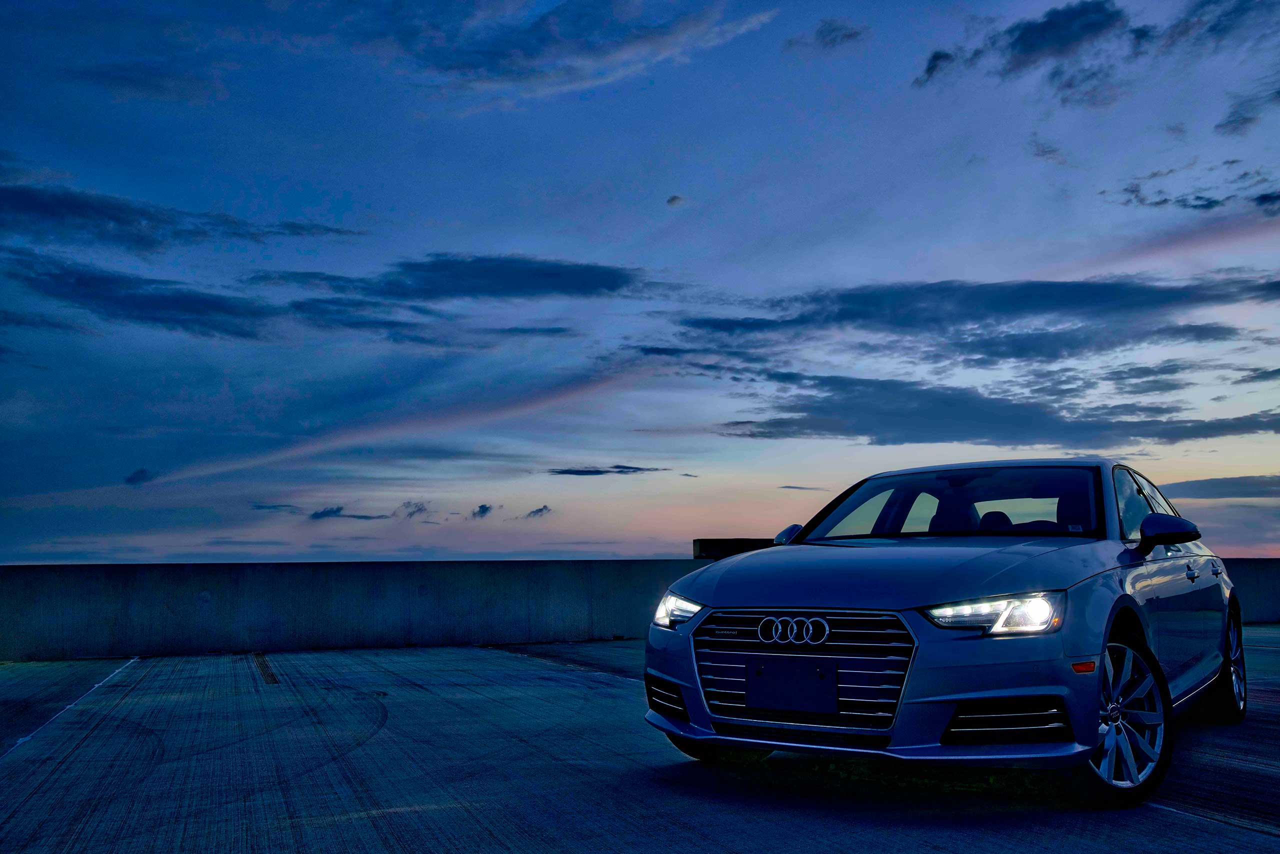 Silvercar Audi in the early morning