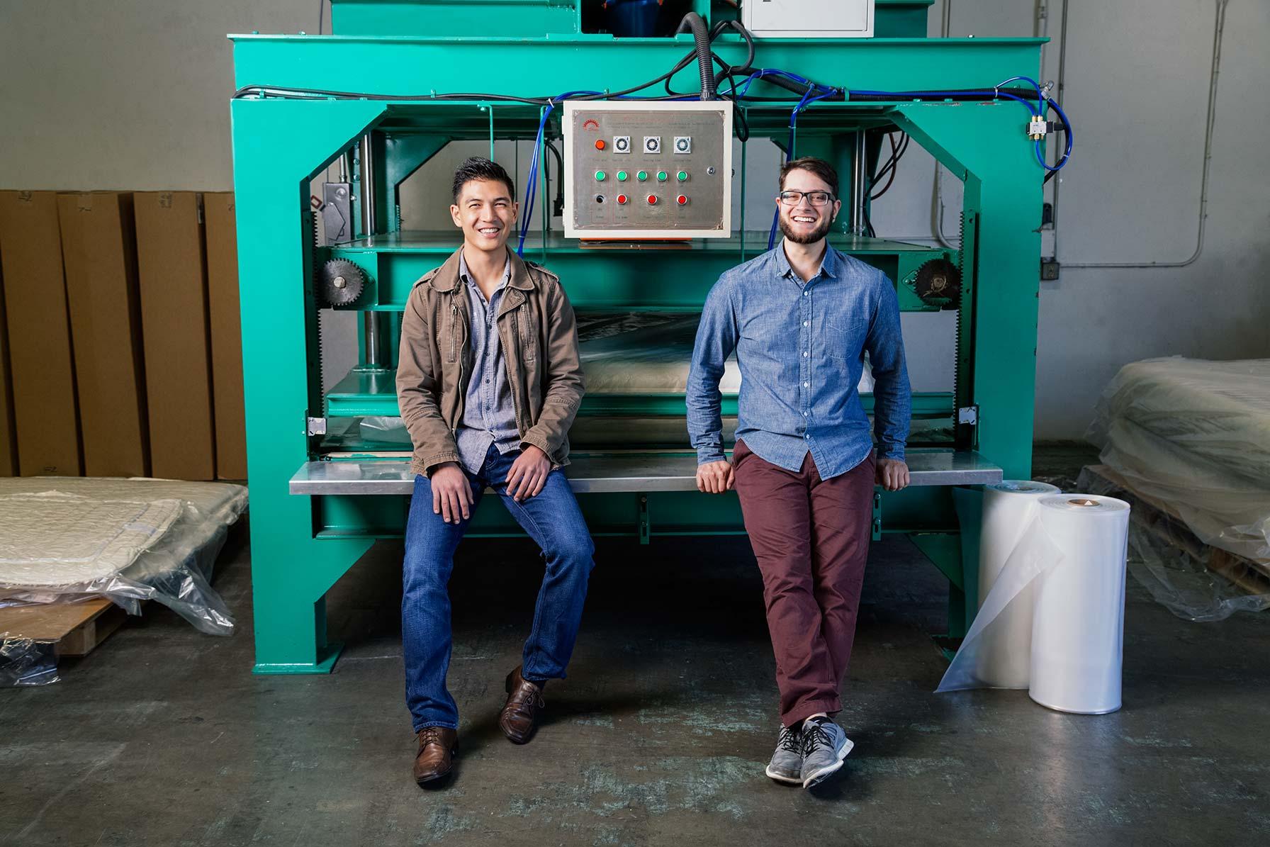 Tuft & Needle founders posing near loom