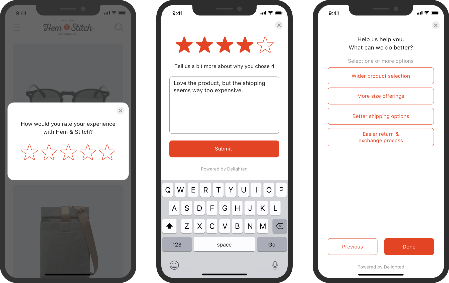 in-app survey with 5-star rating scale and follow-up questions