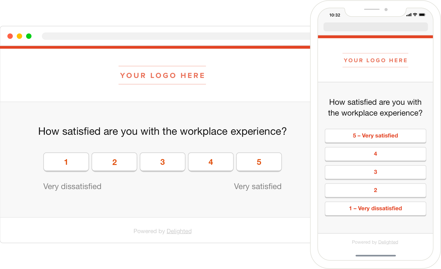 workplace employee satisfaction survey mobile and desktop view