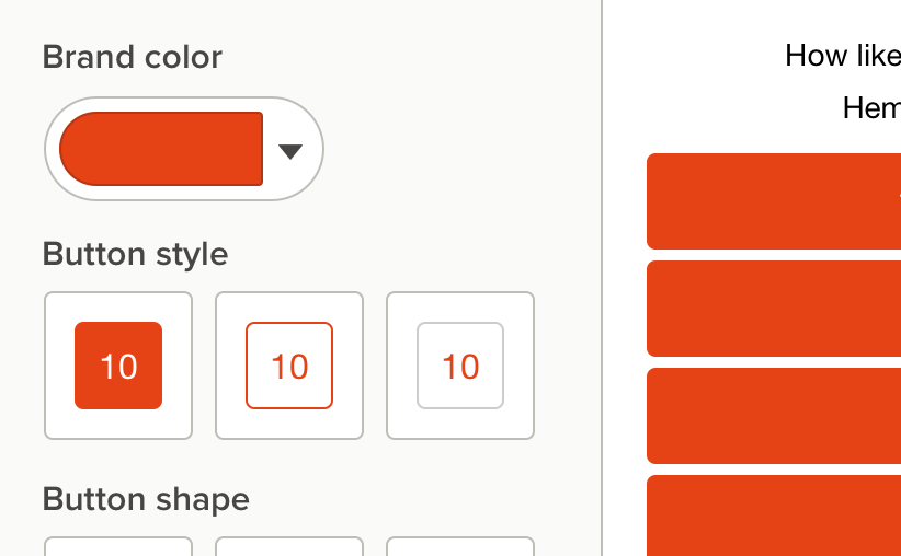 customize color and style of your retail survey