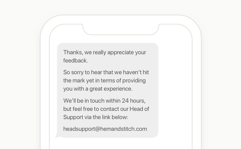 text survey followup message
