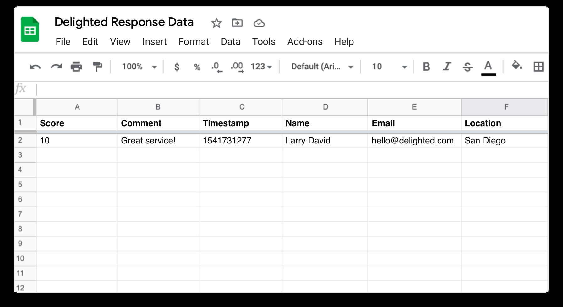 Google sheets integration example