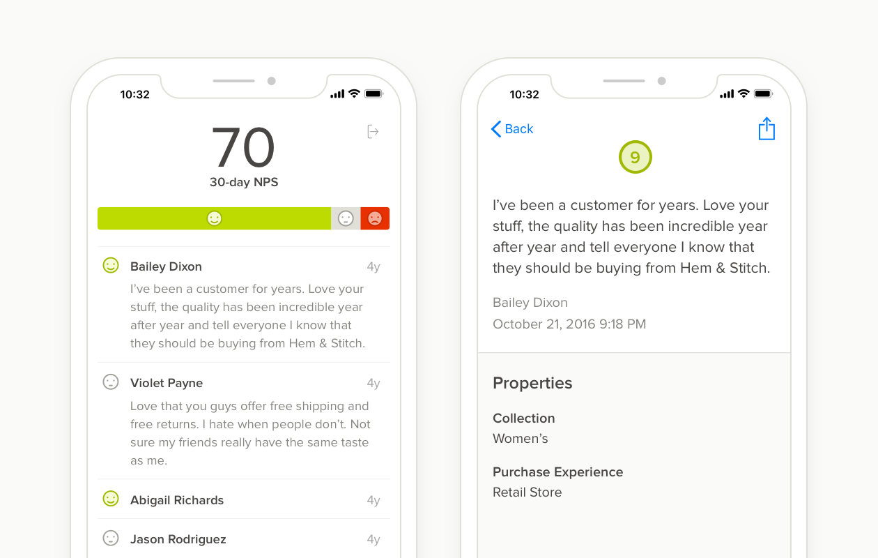 Delighted App feedback dashboard