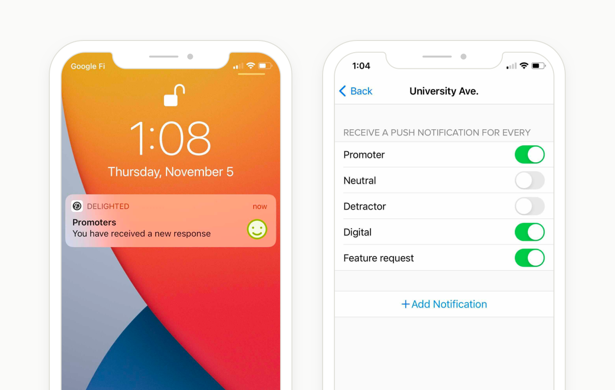 push notifications for the Delighted iOS App
