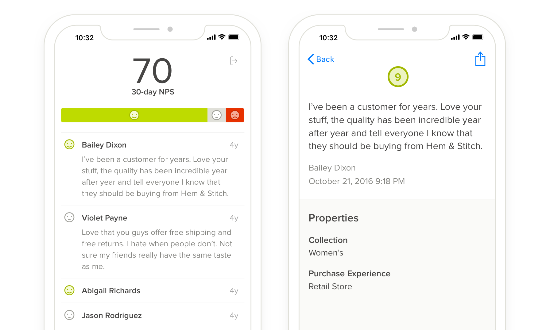 Delighted iOS app feedback dashboard