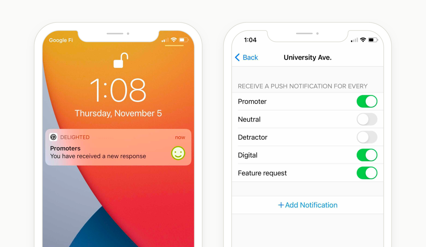 delighted app push notification configuration