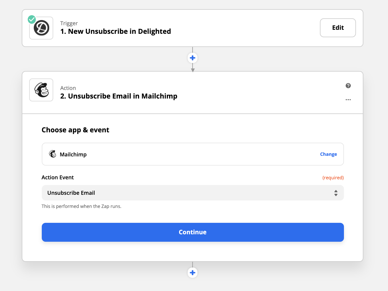 Zapier integration sync mailing list unsubscribes in mailchimp with delighted and zapier