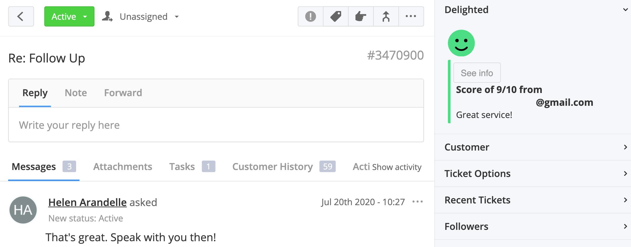 Delighted feedback in Teamwork Desk customer record