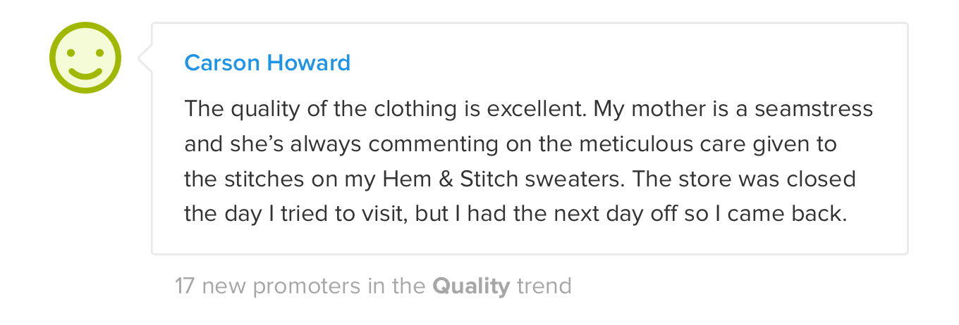 Sample of Trend feedback in an Email digest