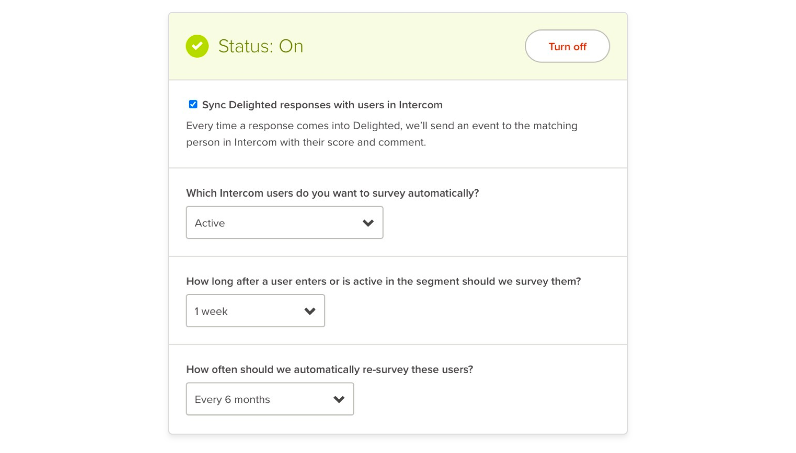 intercom NPS survey