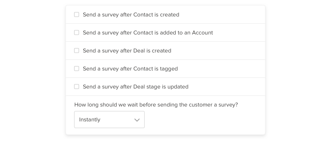 activecampaign integration triggers delighted surveys when contact or deal stage is updated