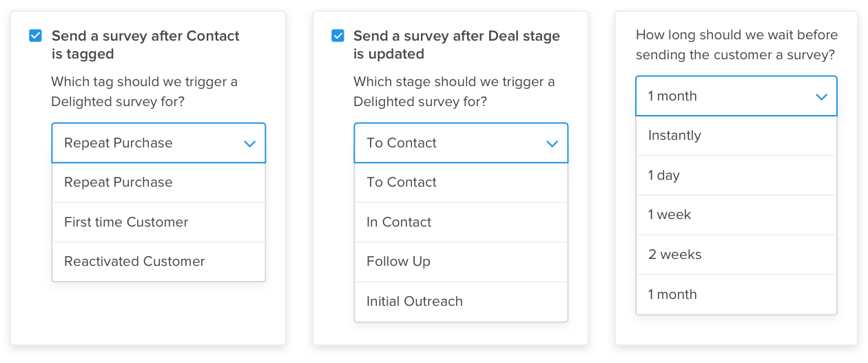 activecampaign integration triggers delighted surveys by deal stage and contact tag with a customizable time delay