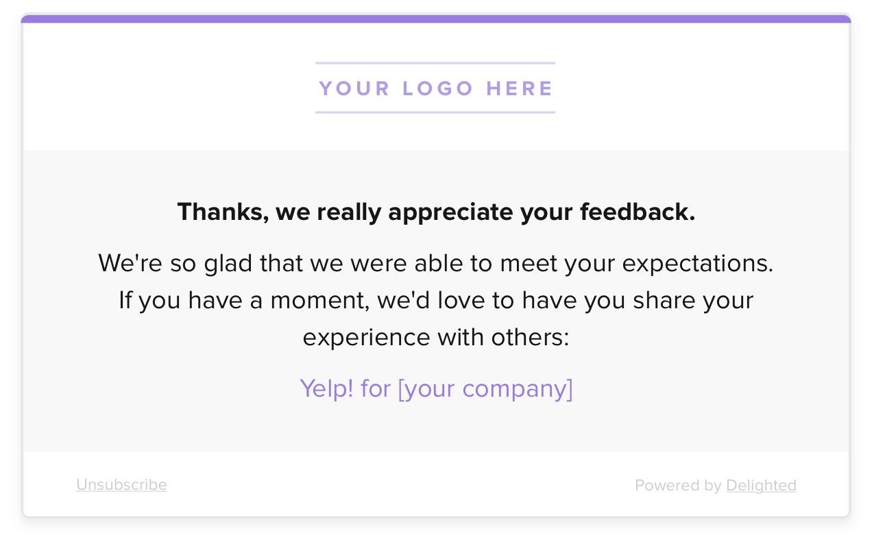 customer service metrics thank you message